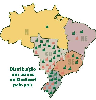 Distribuição das Usinas de biodiesel no Brasil